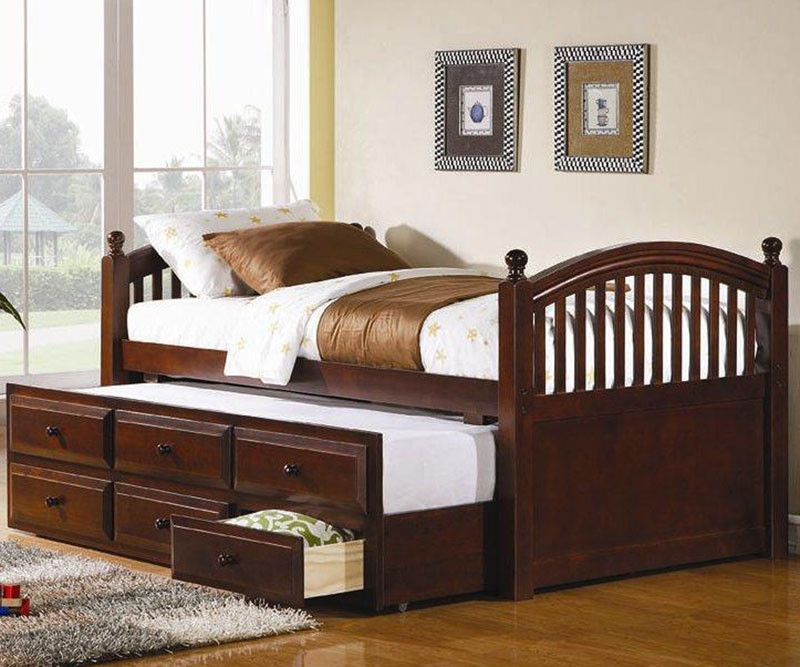 Coaster Cherry Finish Trundle Captains Bed For Kids With