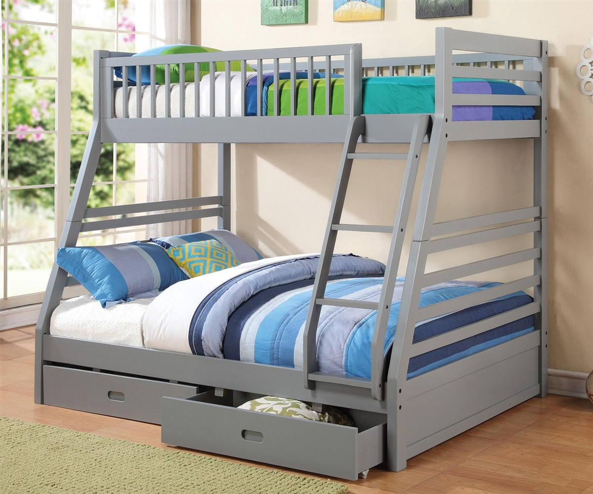 Coaster Furniture 460182 Twin Over Full Grey Bunk Bed Full Size