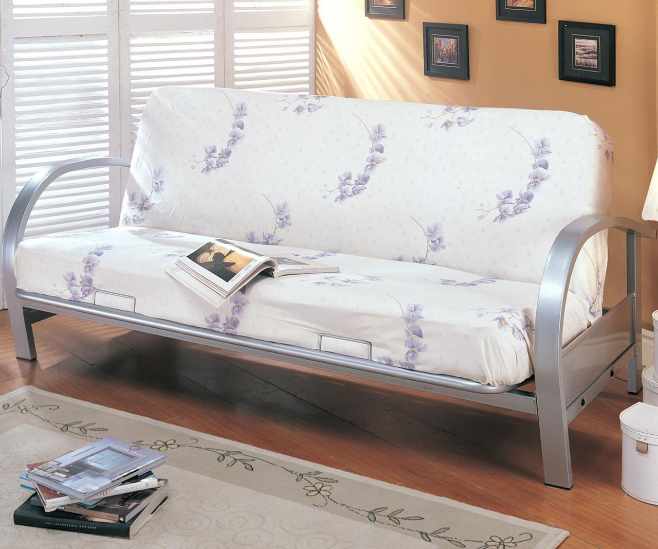 Coaster Metal Futon Sofa In Nickel Finish 7251 Coaster Fine