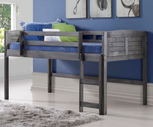 Louver Low Loft Bed Antique Grey | Donco Trading | DT 790AAG