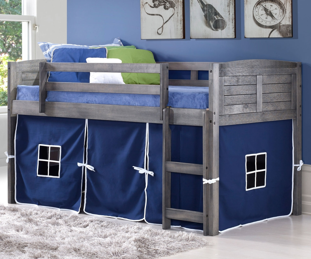 Amherst Low Loft Bed With Blue Tent Antique Grey 790aag B