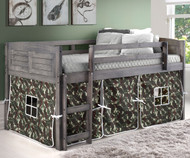Louver Low Loft Bed with Camo Tent Antique Grey | Donco Trading | DT-790AAG-C