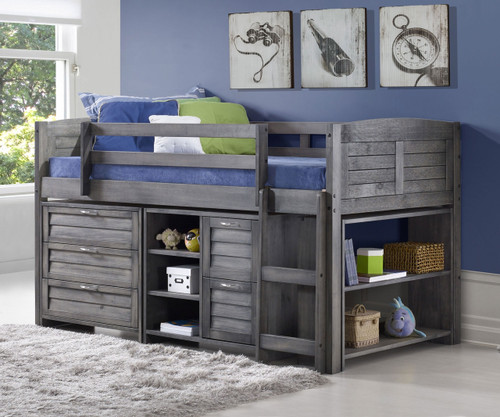 Louver Low Loft Bed With Chests And Bookcase Antique Grey | Donco Trading |  DT