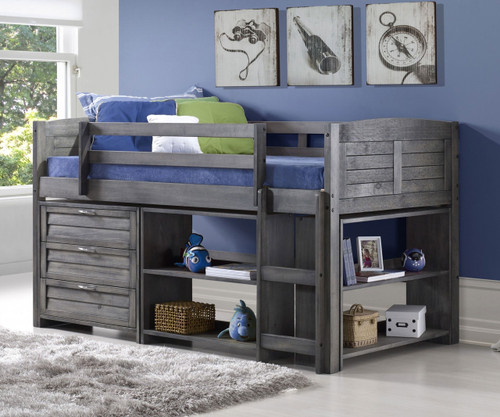 New Bookcase Toy Box White Finish Bedroom Playroom Child: Amherst Low Loft Bed With Storage Antique Grey 790AAG-B