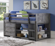 Louver Low Loft Bed with Chest and Bookcases Antique Grey | Donco Trading | DT-790AAG-Config-B