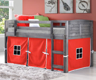Louver Low Loft Bed with Red Tent Antique Grey | Donco Trading | DT-790AAG-R