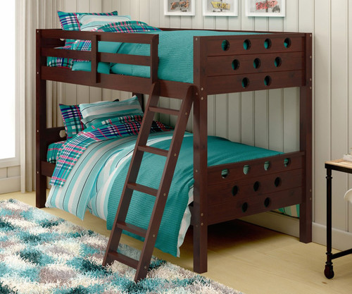 Twin Over Twin Size Circles Bunk Bed In Cappuccino Finish