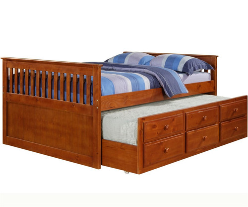 Cappuccino trundle captains beds in full size for kids bedroom