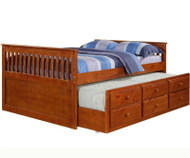 Mission Full Size Captains Trundle Bed Espresso | Donco Trading | DT103FE