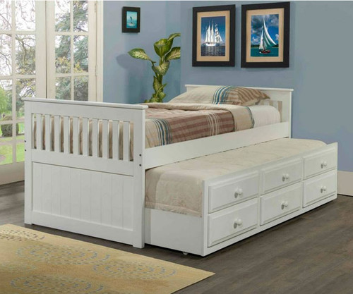 white twin size trundle captain beds for kids shop kids beds at kfw. Black Bedroom Furniture Sets. Home Design Ideas