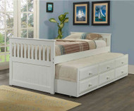 Mission Twin Size Captain's Trundle Bed White | Donco Trading | DT103W-CL