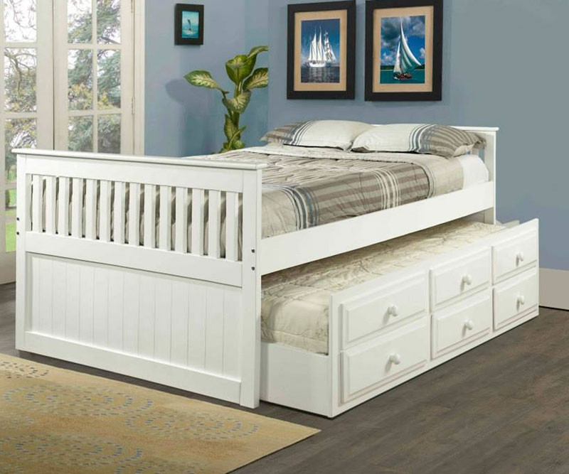 White Full Size Trundle Captains Beds Kids Bedroom Furniture Orlando Florida Clearance Donco