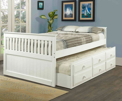 White Full Size Trundle Captains Beds Kids Bedroom