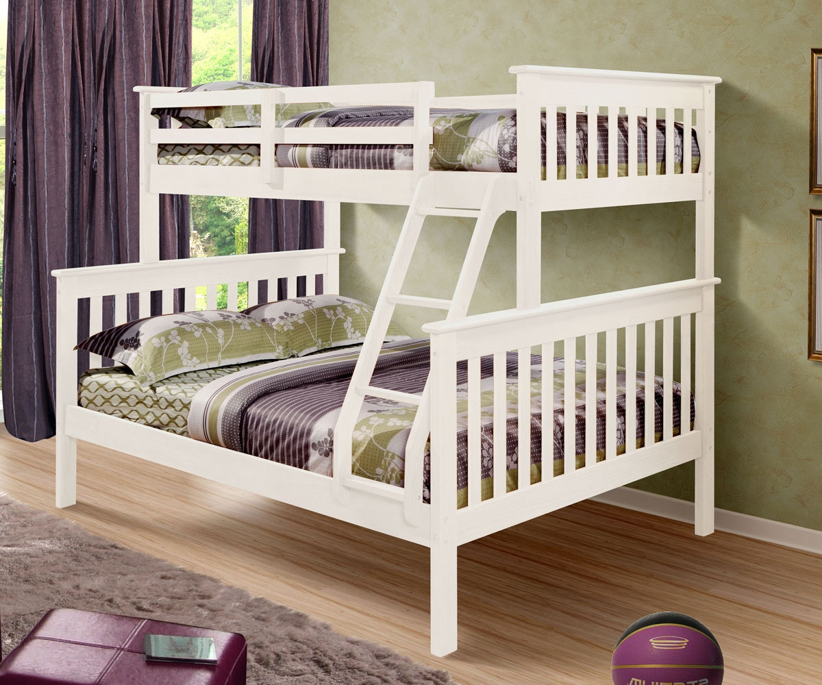 White Twin Over Full Bunk Beds Kids Furniture Donco Trading