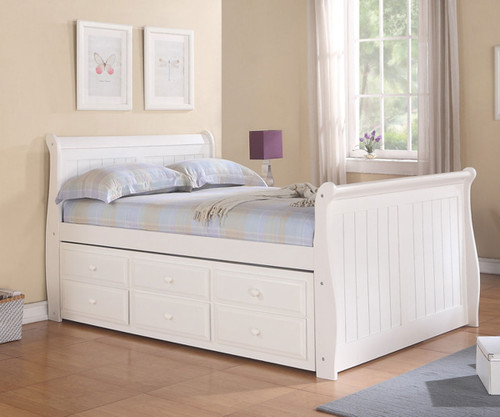 Sleigh Full Size Captainu0027s Trundle Bed White | Donco Trading | DT125FW CL