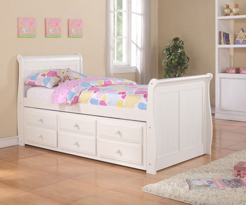 Sleigh Twin Size Captainu0027s Trundle Bed White | Donco Trading | DT125W CL