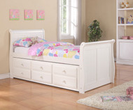 Sleigh Twin Size Captain's Trundle Bed White | Donco Trading | DT125W-CL