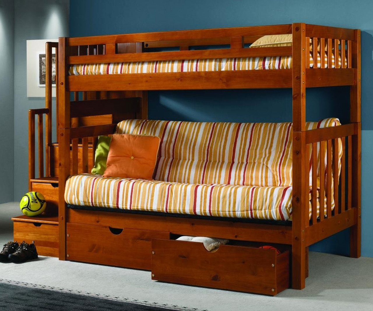 Donco Trading Mission Stairway Futon Bunk Bed 200 Abcdefgh