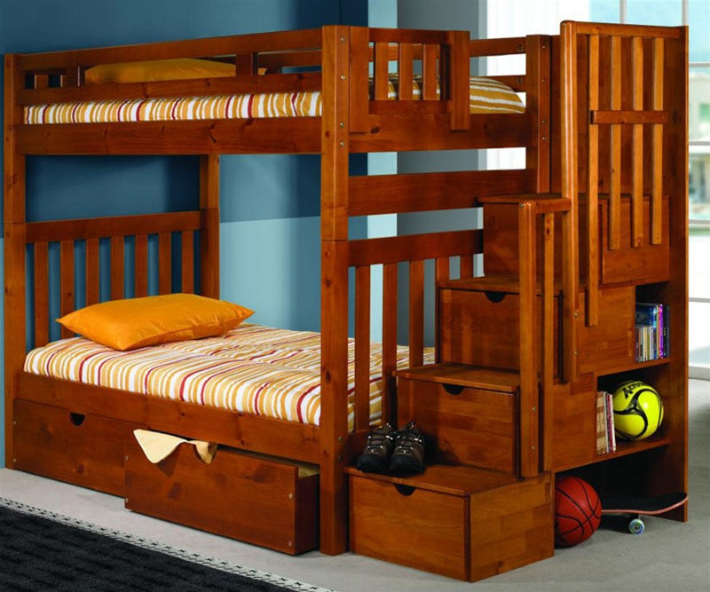 Donco Trading Furniture Honey Twin Staircase Bunk Bed 200 And Stair