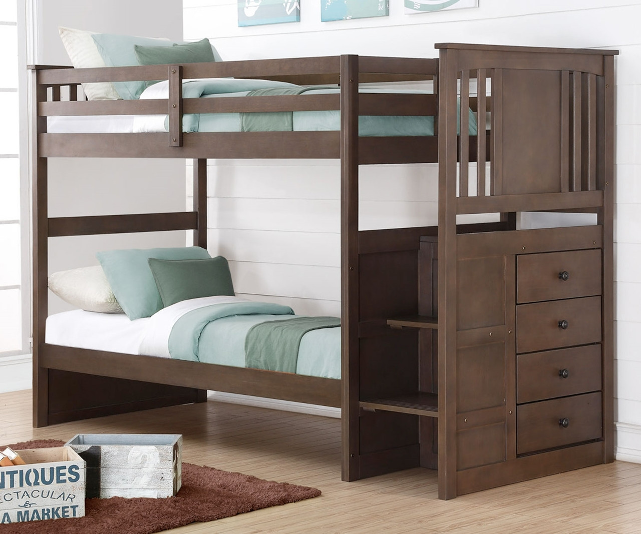Donco Trading Princeton Stairway Bunk Bed 2204sg Solid Wood Bunk