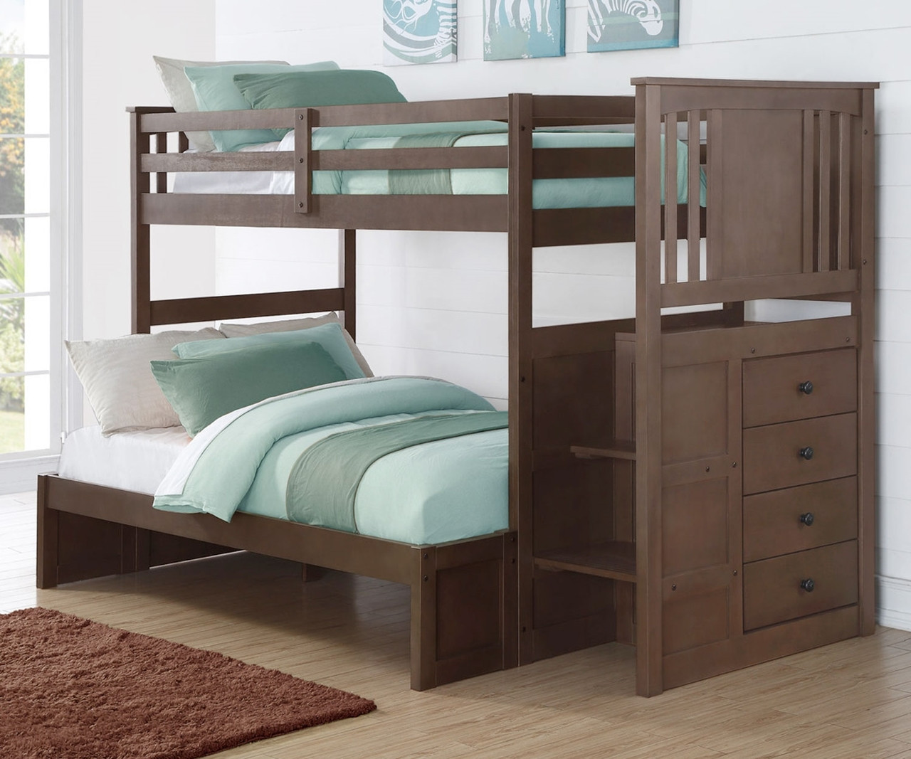 Princeton Twin Over Full Stairway Bunk Bed Donco Trading Dt2204sg 2200esg