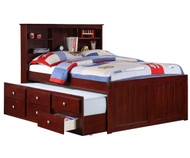 Manhattan Full Size Bookcase Captains Trundle Bed Cappuccino | Donco Trading | DT250FCP
