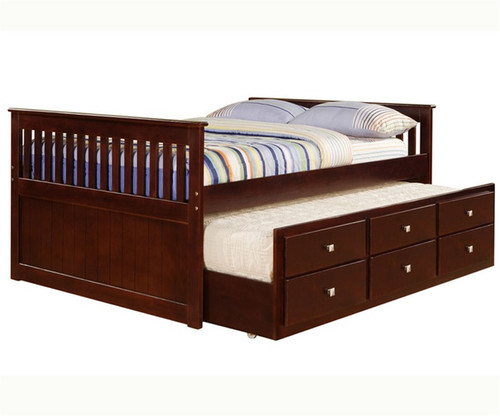 mission full size captains trundle bed cappuccino donco trading dt303cp full