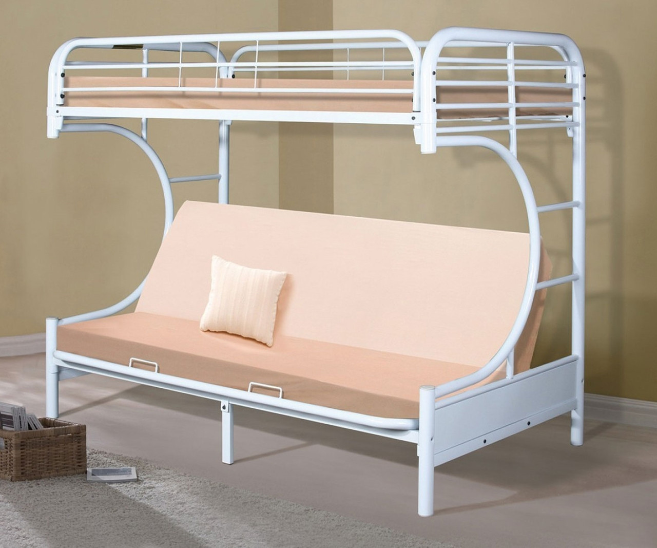 Metal C Shaped Futon Bunk Bed In White Finish 4509 3wh Donco