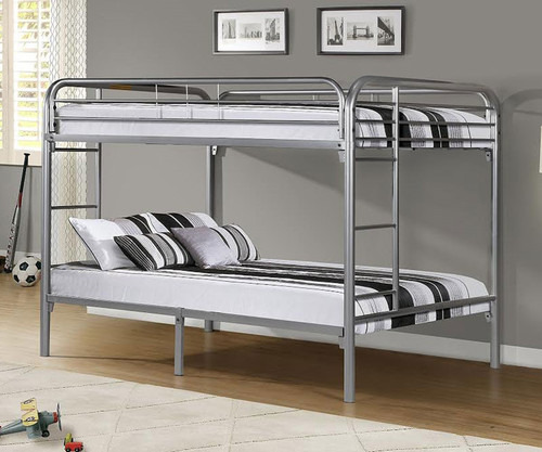 Donco Full Over Full Metal Bunk Bed   Silver | Donco | DT4510 Silver