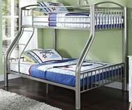 heavy metal twin over full bunk bed silver donco dt45123s