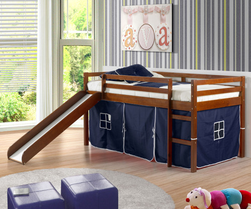 Castle Low Loft Bed With Slide In Espresso Finish