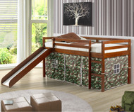 Low Loft Bed with Camo Tent & Slide Espresso | Donco Trading | DT750ETC