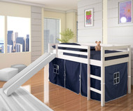 Low Loft Bed with Blue Tent & Slide White | Donco Trading | DT750WTB