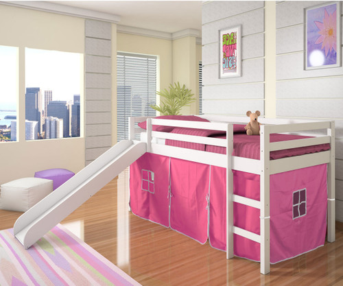 low loft bed with pink tent u0026 slide white donco trading dt750wtp