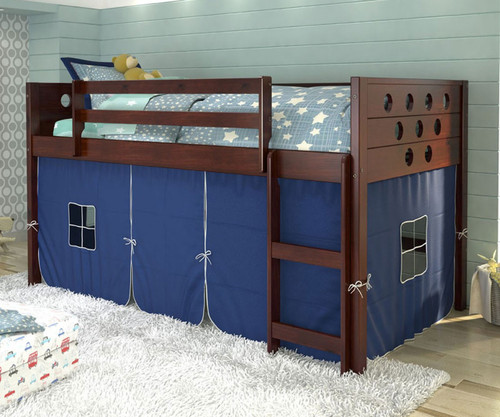 Circles Low Loft Bed with Blue Tent Cappuccino | Donco Trading | DT780ATCP-B