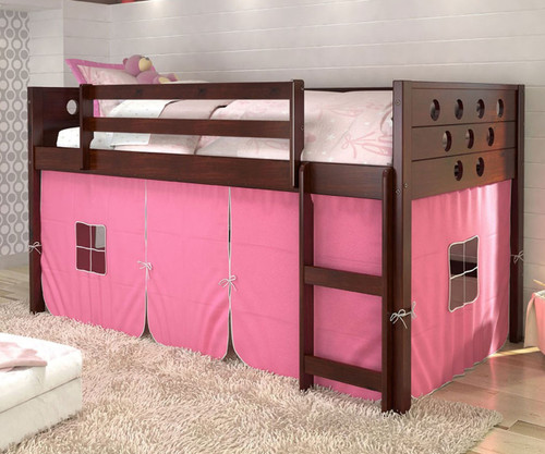 Circles Low Loft Bed with Pink Tent Cappuccino | Donco Trading | DT780ATCP-P