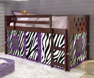 Circles Low Loft Bed with Zebra Tent Cappuccino | Donco Trading | DT780ATCP-Z