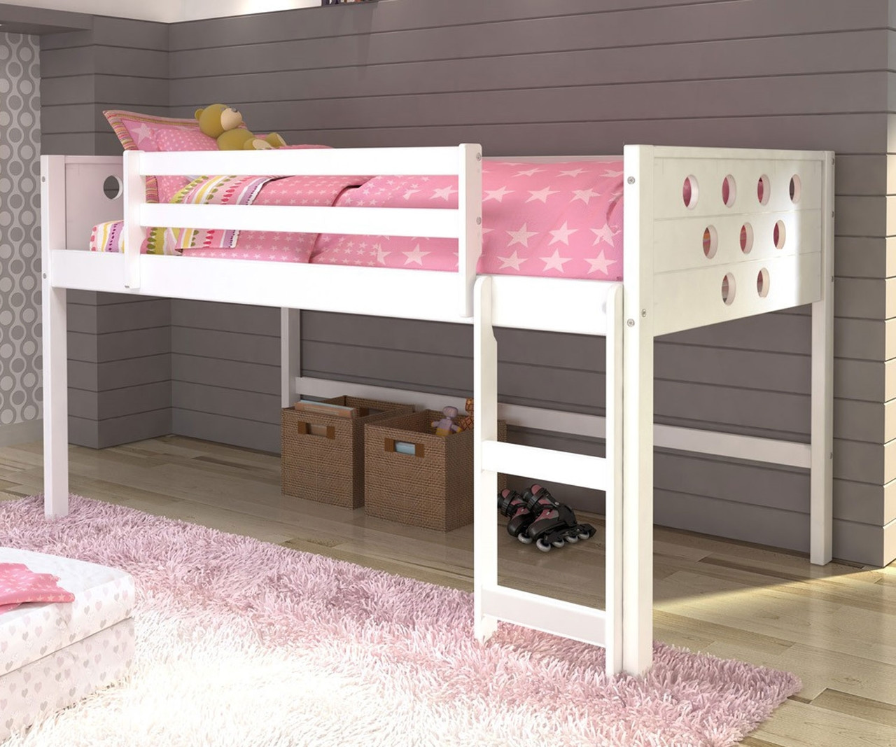 Twin Size Circles Low Loft Bed In White Finish 780atw