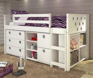 Circles Low Loft Bed with Storage Twin Size White | Donco Trading | DT780ATWX