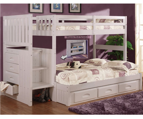 discovery world furniture white twin full staircase bunk bed 0214