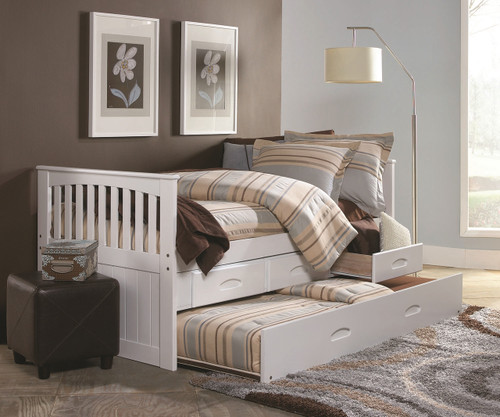 Cambridge White Captains Trundle Bed Twin Size Bed