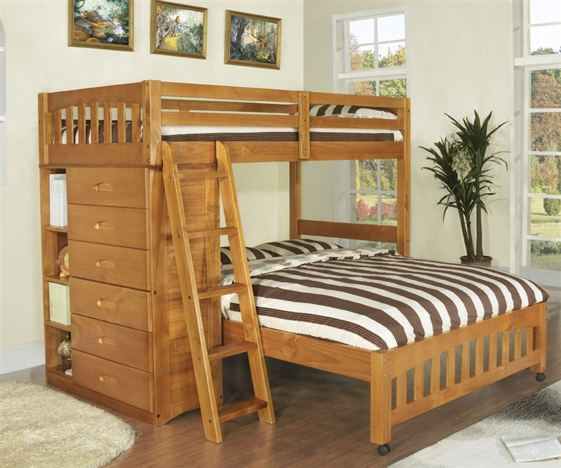 Discovery World Furniture Honey Twin Full Loft Bed Model 2105 Twin