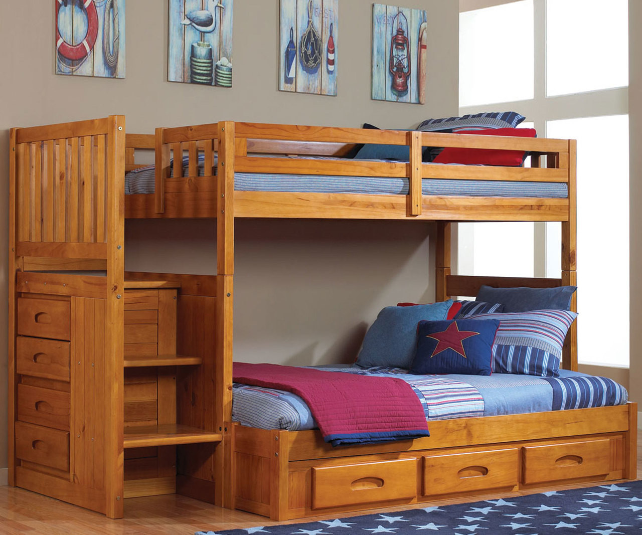 Bed Over Stair Box With Storage And Stairs: Buy Honey Collection Mission Kids Bunk Beds With Stairs