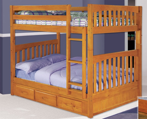 Solid Wood Full over Full Bunk Beds Spacesaving FullSize Bunk