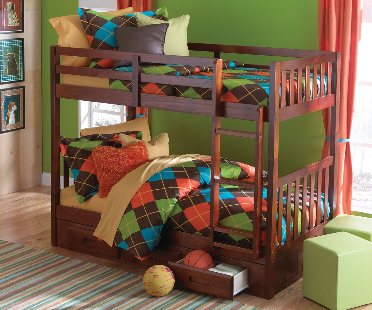 Discovery Merlot Mission Bunk Bed For Kids Twin Over Twin Bunk Bed