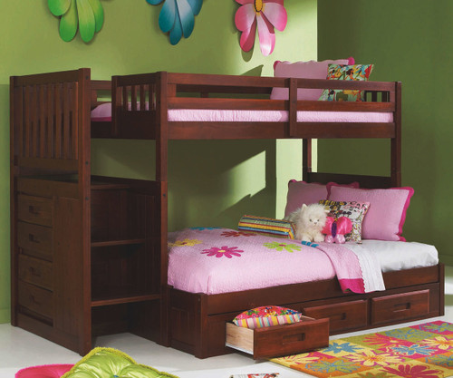 Merlot Finish Mission Stairstepper Bunk Bed At Kids