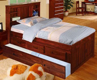 Acadia Merlot Twin Bookcase Captains Trundle  Bed   Discovery World Furniture   DWF2820-3DRTR