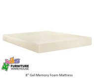 "E-Rest 8"" Gel Memory Foam Full Size Mattress 