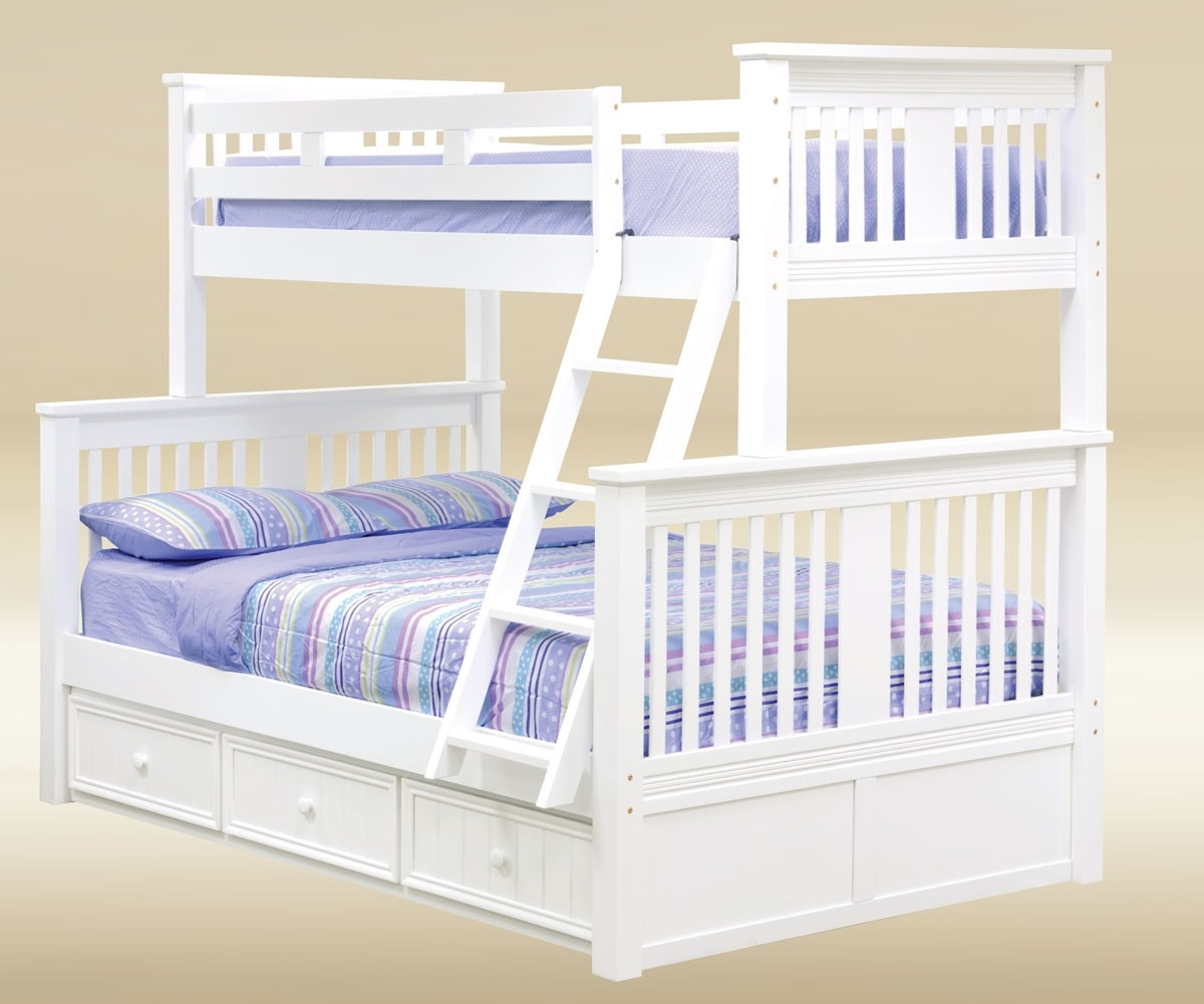 White Twin Over Full Bunk Bed Cottage Style Bunk Bed In White