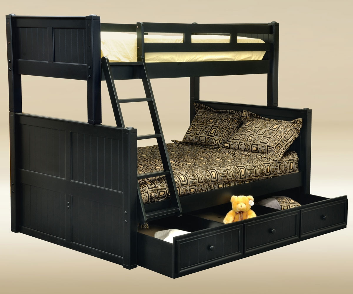 Black Twin Over Full Bunk Bed For Kids Tf83001 Cottage Style Bunk